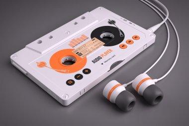 Mp3 portable musical casette player. Concept 3d