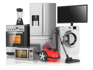 Set of household kitchen appliances, isolated on white backgroun