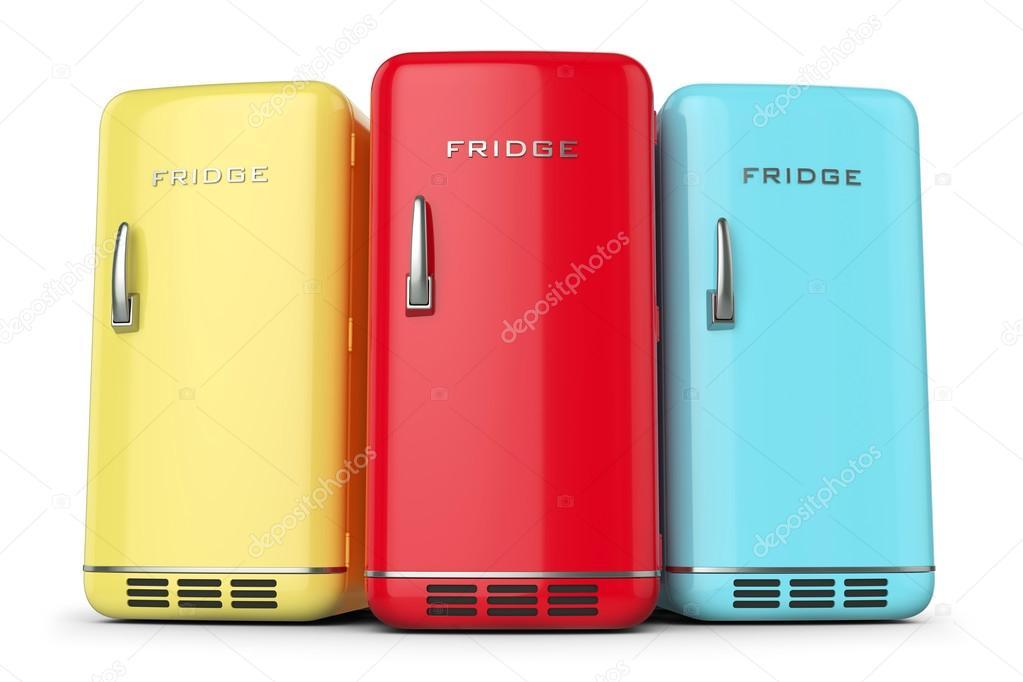 Retro Kühlschrank Gelb : Gruppe von retro farbige kühlschränke in zeile u stockfoto