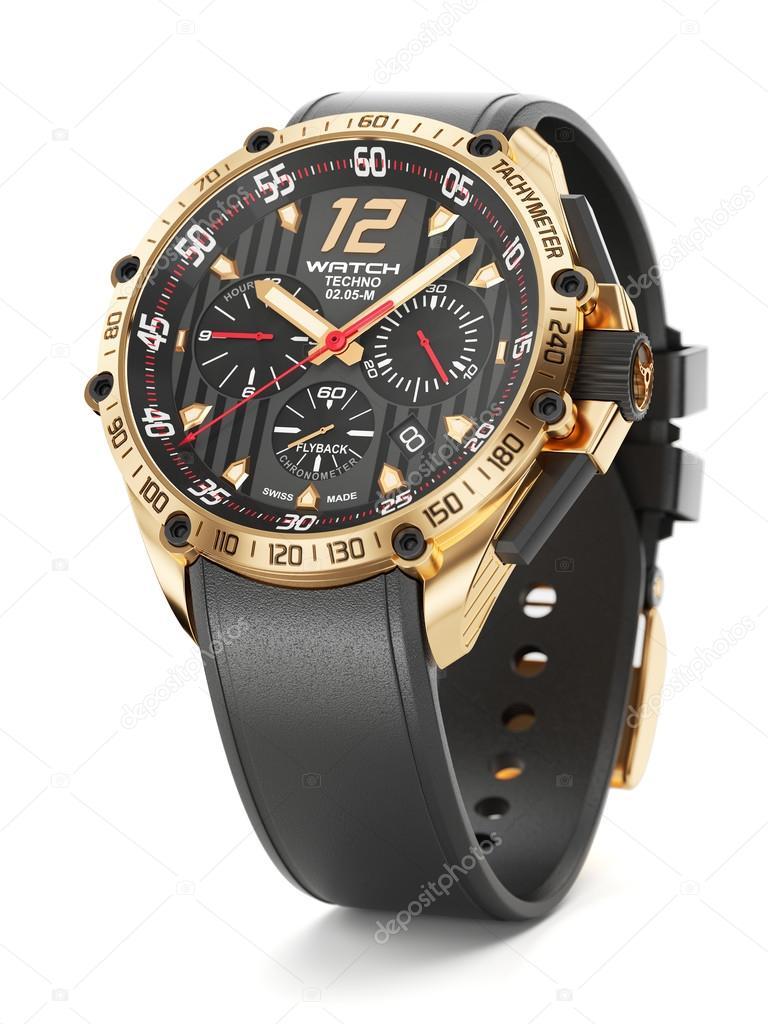 Luxusní zlaté hodinky s černým hodiny tvář a gumové řemínky pro na bílém  pozadí 3d — Fotografie od ... 7f837cb83a