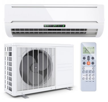 Air conditioner split system with remote controller isolated on
