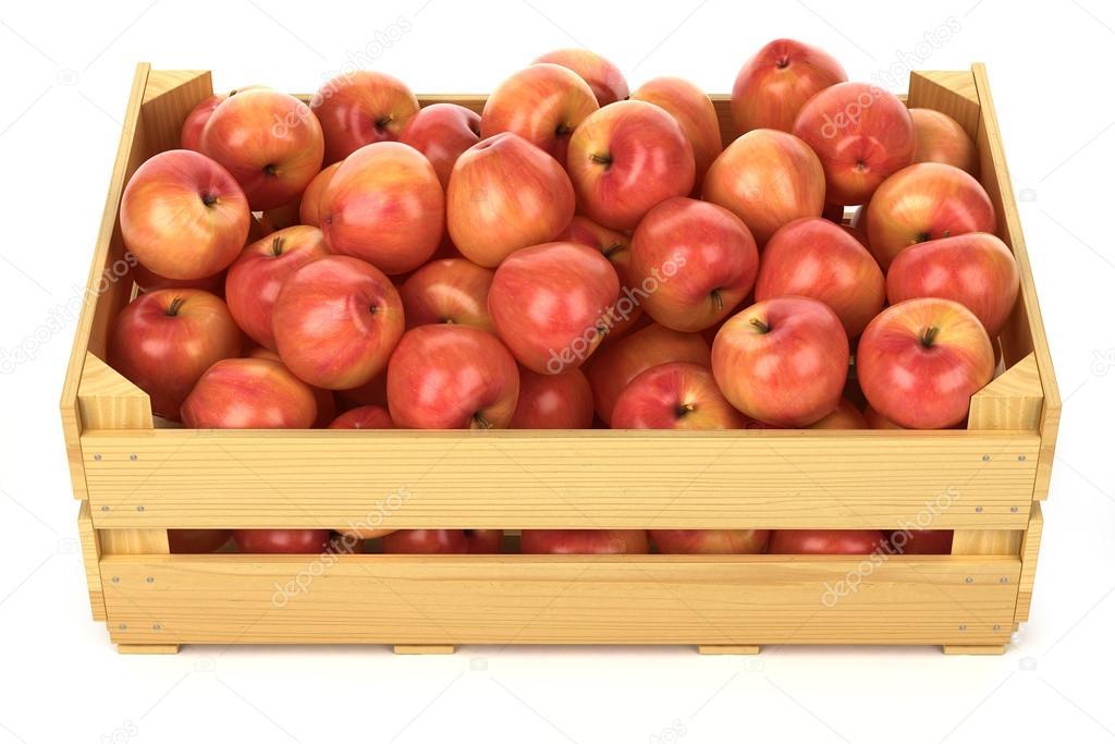 rode appels in de houten kist stockfoto aleksanderdnp. Black Bedroom Furniture Sets. Home Design Ideas