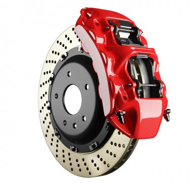 Automobile brake disk and red caliper