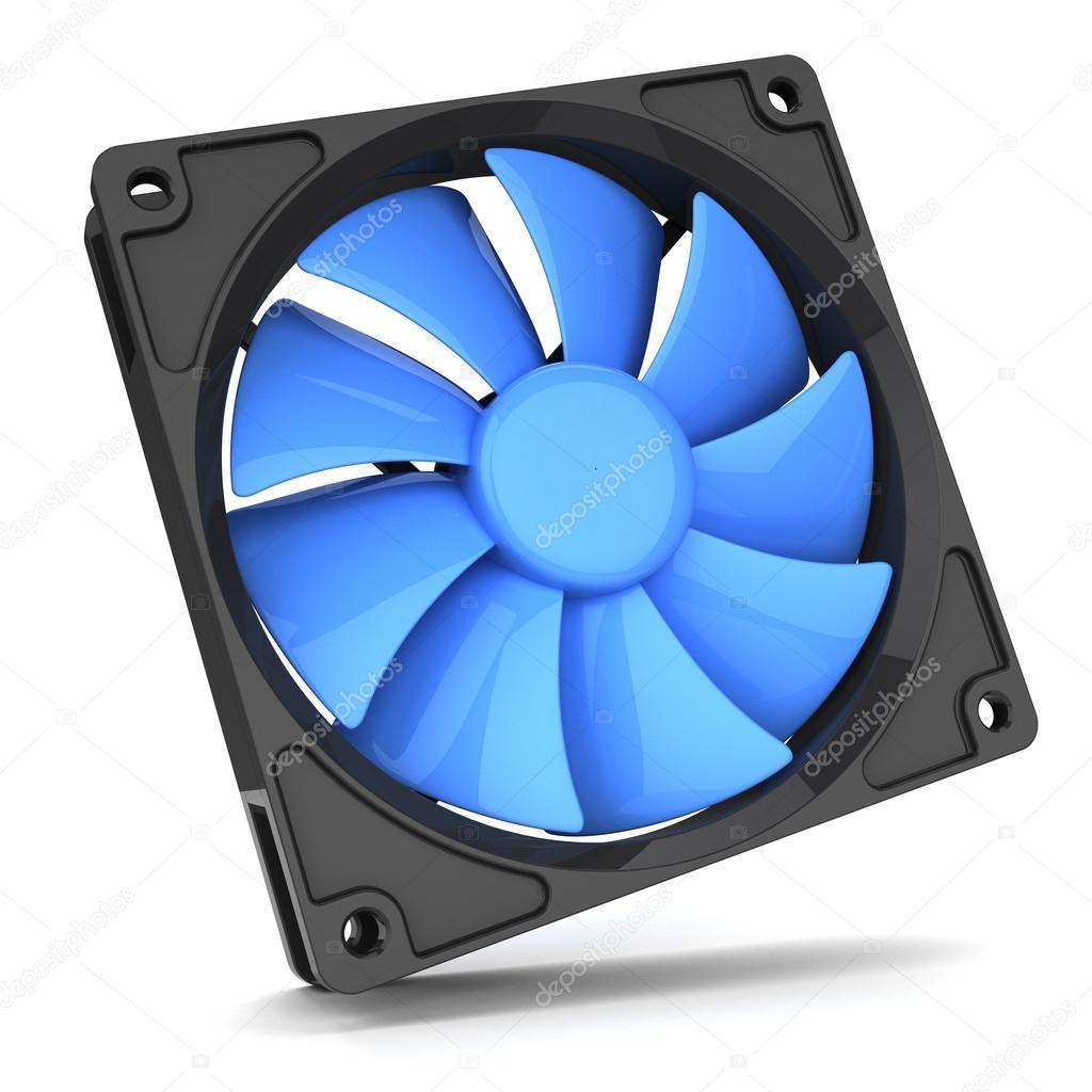 Fan Soğutucu üzerinde Beyaz Izole Pc Için Mavi Arka Plan 3d Stok