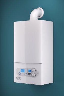 Household gas boiler isolated on background 3d
