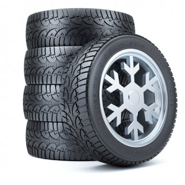 Set winter tires, rim of snowflake shape isolated on white backg