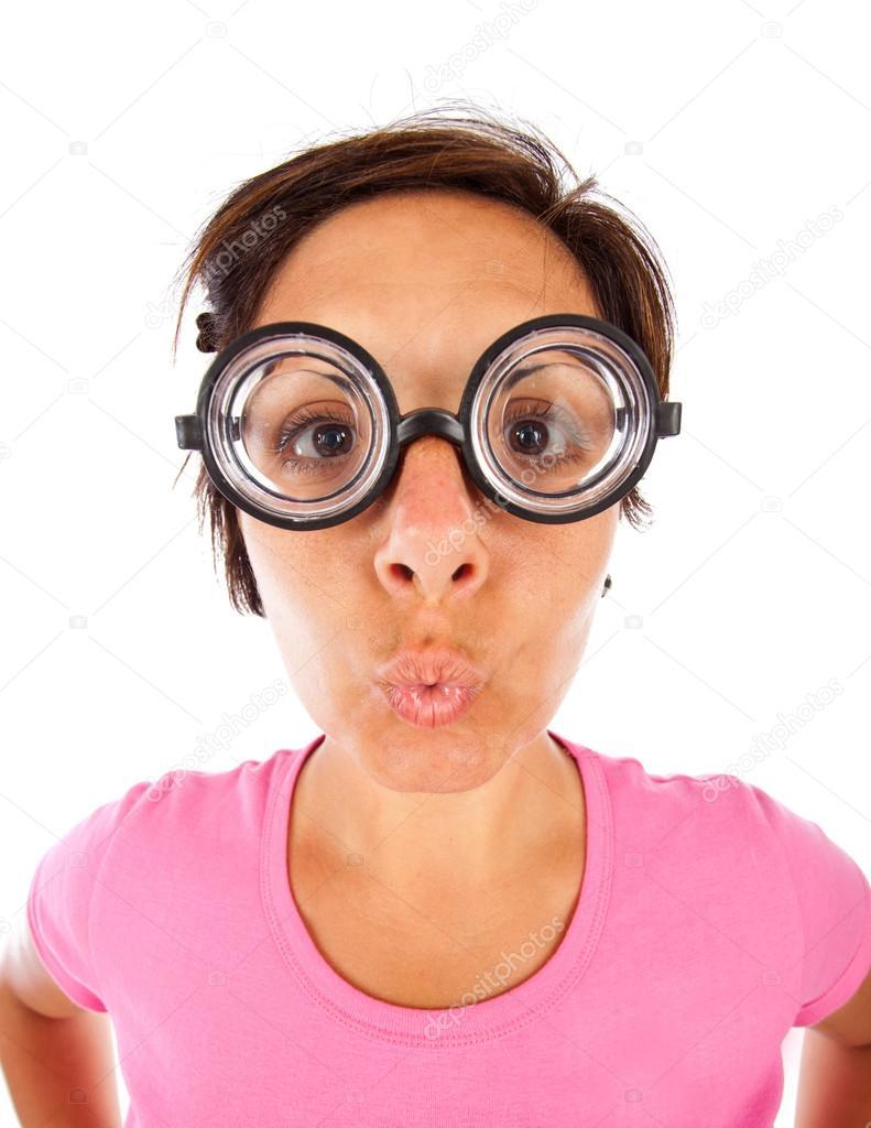 foto ufficiali badbf a23e0 Donna con gli occhiali spessi — Foto Stock © AntonioGravante ...
