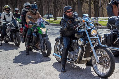 Moscow, Russia - April 23, 2016: Motorcyclists open the spring s