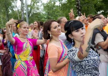 Moscow, Russia - August  14, 2016: Harinam sankirtana.