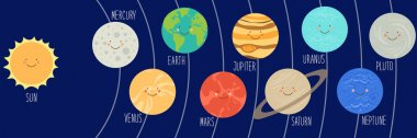 cartoon characters of planets of solar system