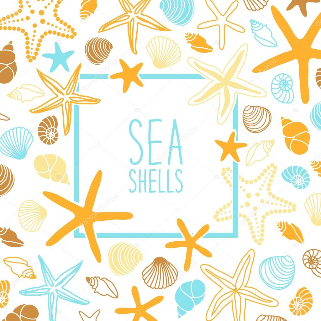marco con conchas y estrellas de mar — Vector de stock © IShkrabal ...