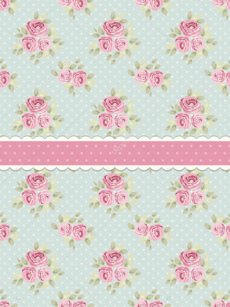 Cute Shabby Chic Background With Roses And Polka Dots For Your Decoration Vector By IShkrabal