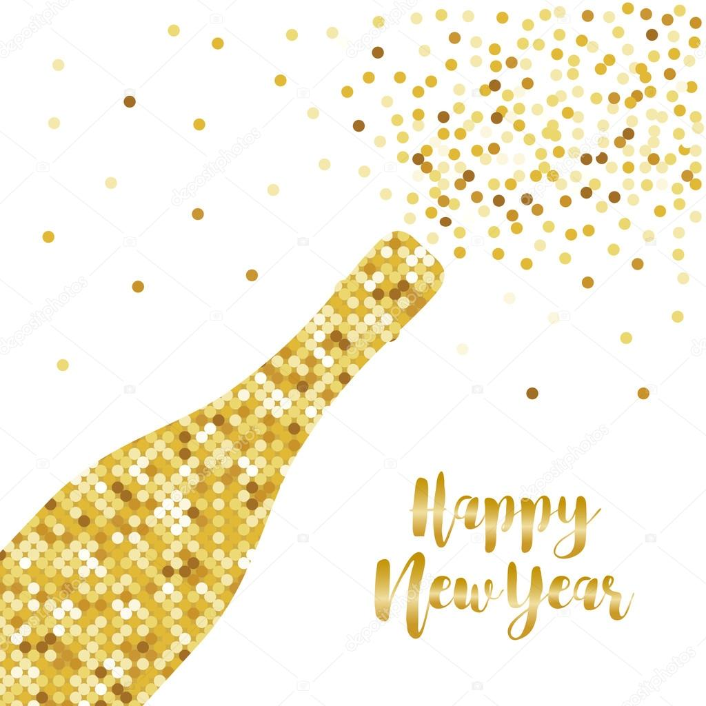 glamour golden glitter champagne bottle opening as happy new year card vector by ishkrabal