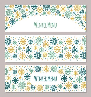 Cute set of Scandinavian Winter horizontal banners background with hand drawn snowflakes for your decoration icon