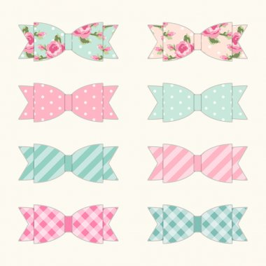 Set of 8 different retro fabric bows