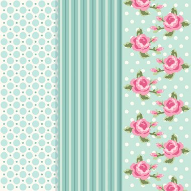 Set of three retro patterns in shabby chic style