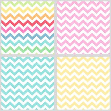 Set of four primitive retro seamless chevron patterns