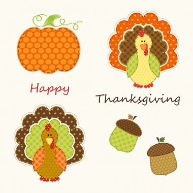 Retro fabric applique of Thanksgiving decorative elements