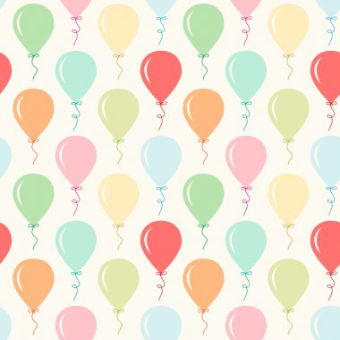 Seamless primitive retro background with party balloons