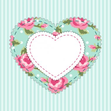 Cute vintage frame in  fabric heart