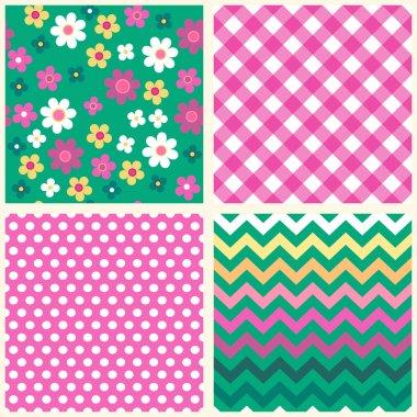 Set of four retro seamless patterns