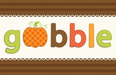 Gobble word as retro applique of gingham fabric