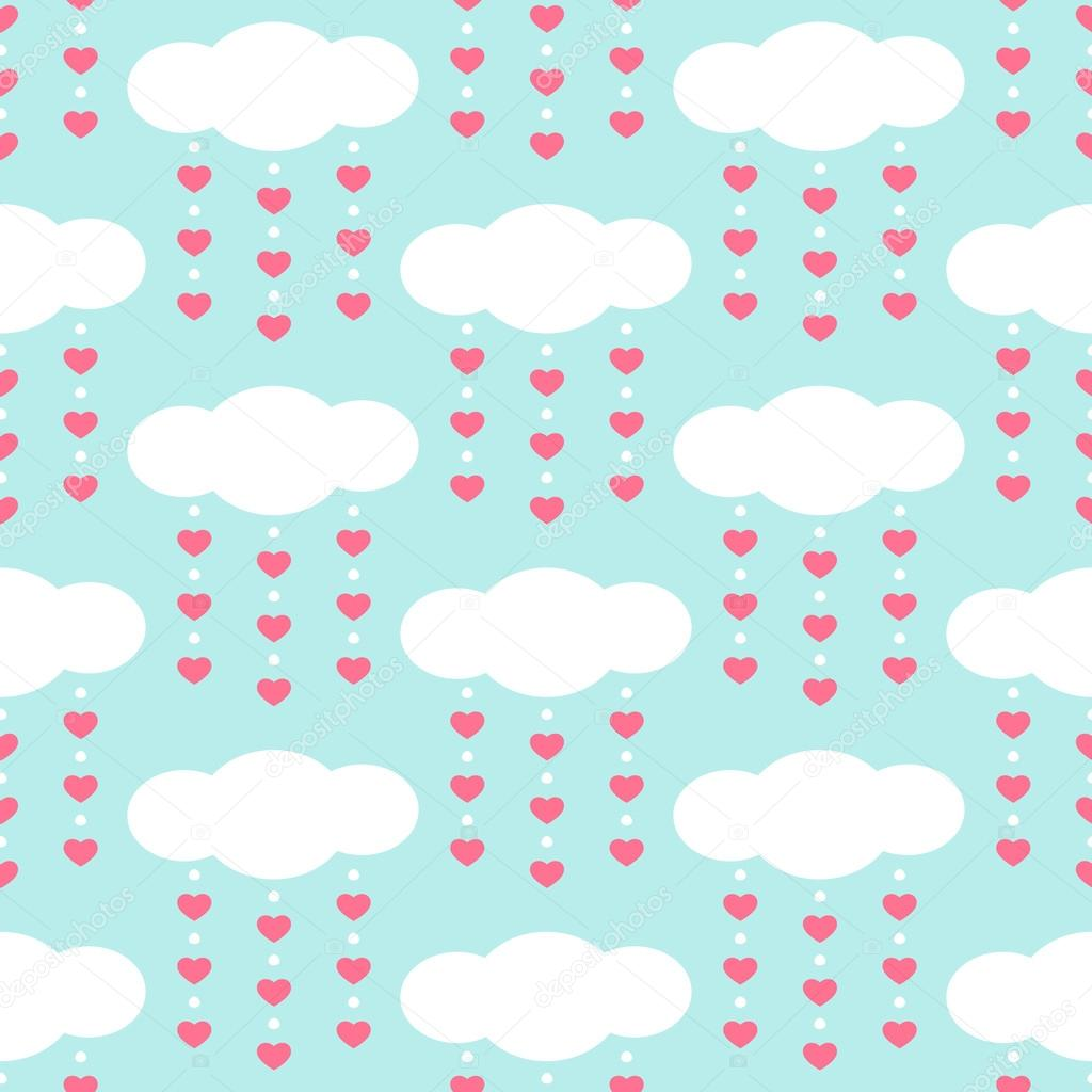 Cute baby retro seamless background as clouds with drops hearts
