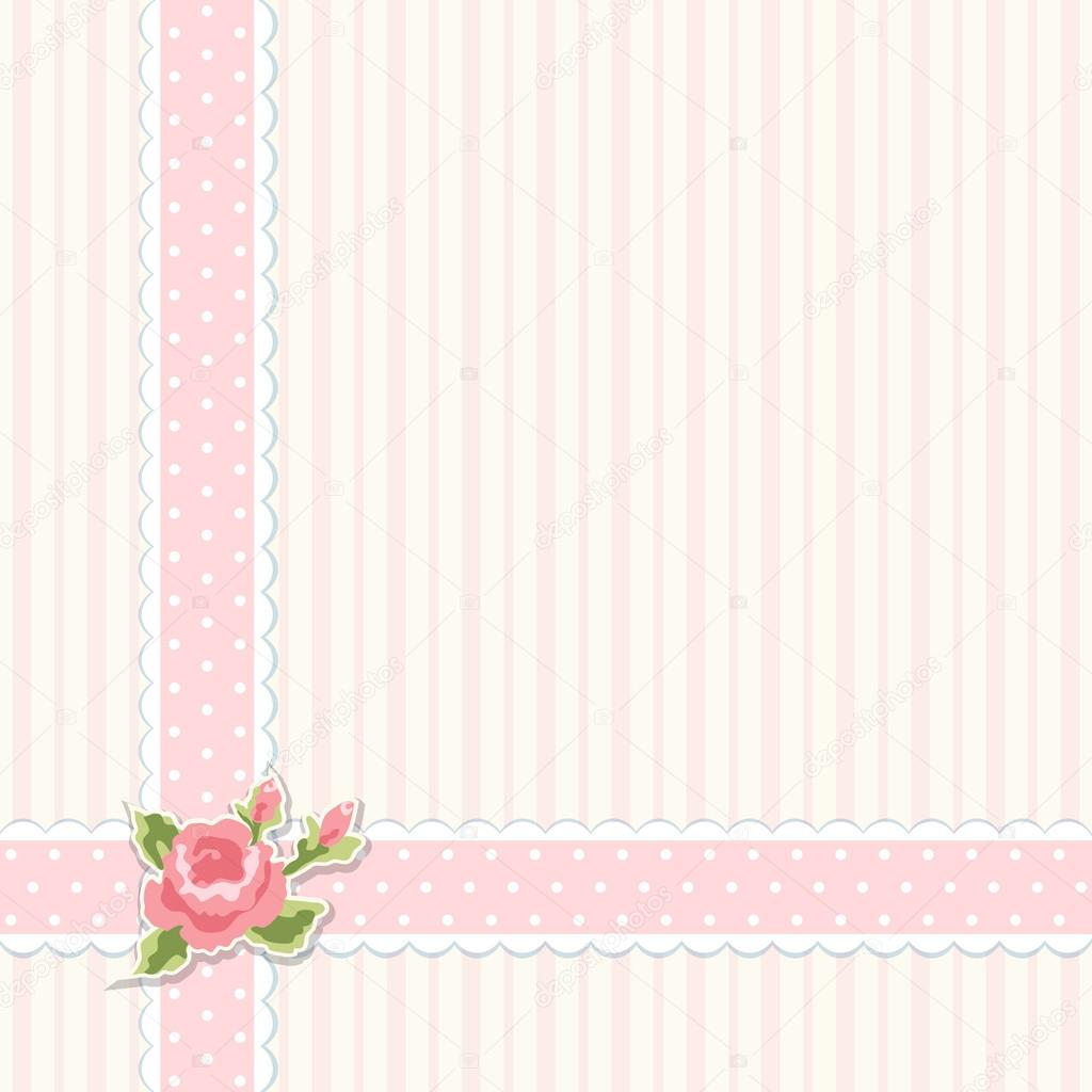 Classic Vintage Shabby Chic Background With Textile Ribbon Border And Decorative Rose Sticker Ideal As Album Cover Or Baby Shower Card Vector By IShkrabal