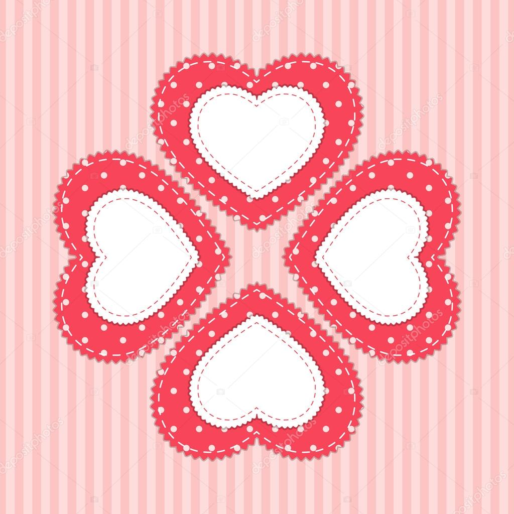 Cute Vintage Frame In Shabby Chic Style As Fabric Applique Of Polka Dot Heart On Striped Background Vector By IShkrabal