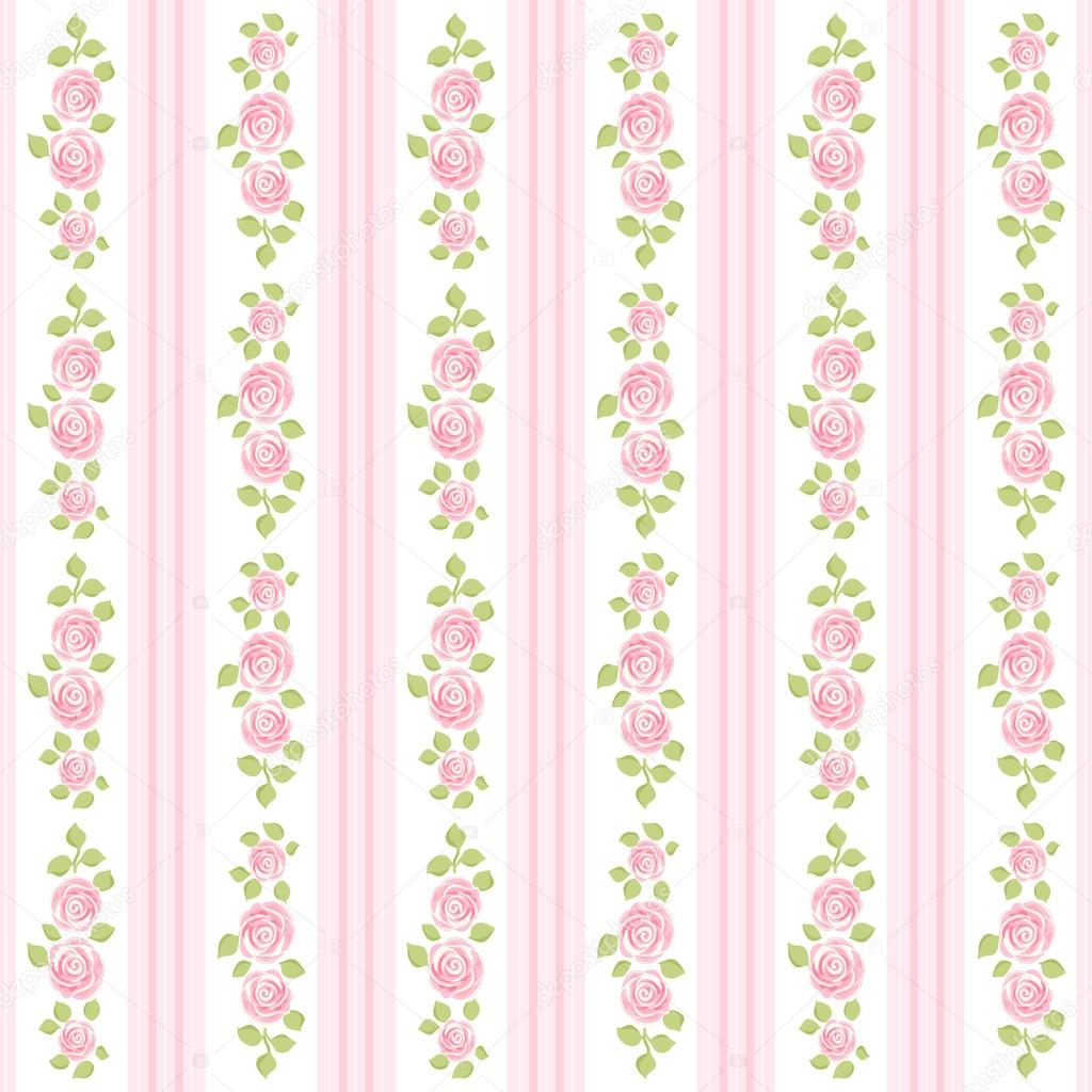 Retro Wallpaper With Roses On Striped Background In Shabby Chic Style Vector By IShkrabal