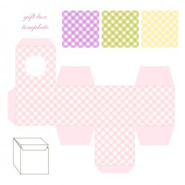 Retro square gingham gift box template