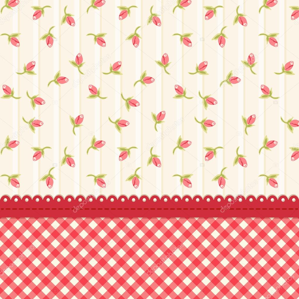 Shabby Chic Background With Tulips Stock Vector