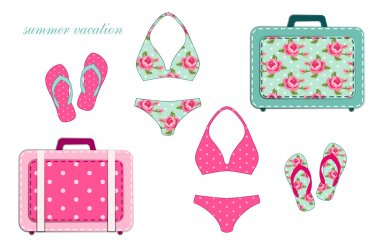Swimsuits, suitcases and flip-flops