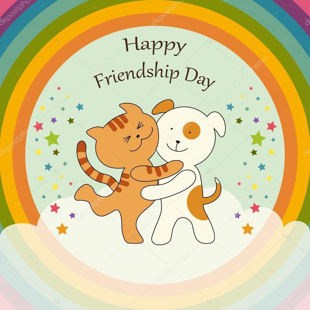 Cute Friendship Day Card As Cat And Dog Characters Union On Harmony Rainbow  Background U2014 Vector By IShkrabal
