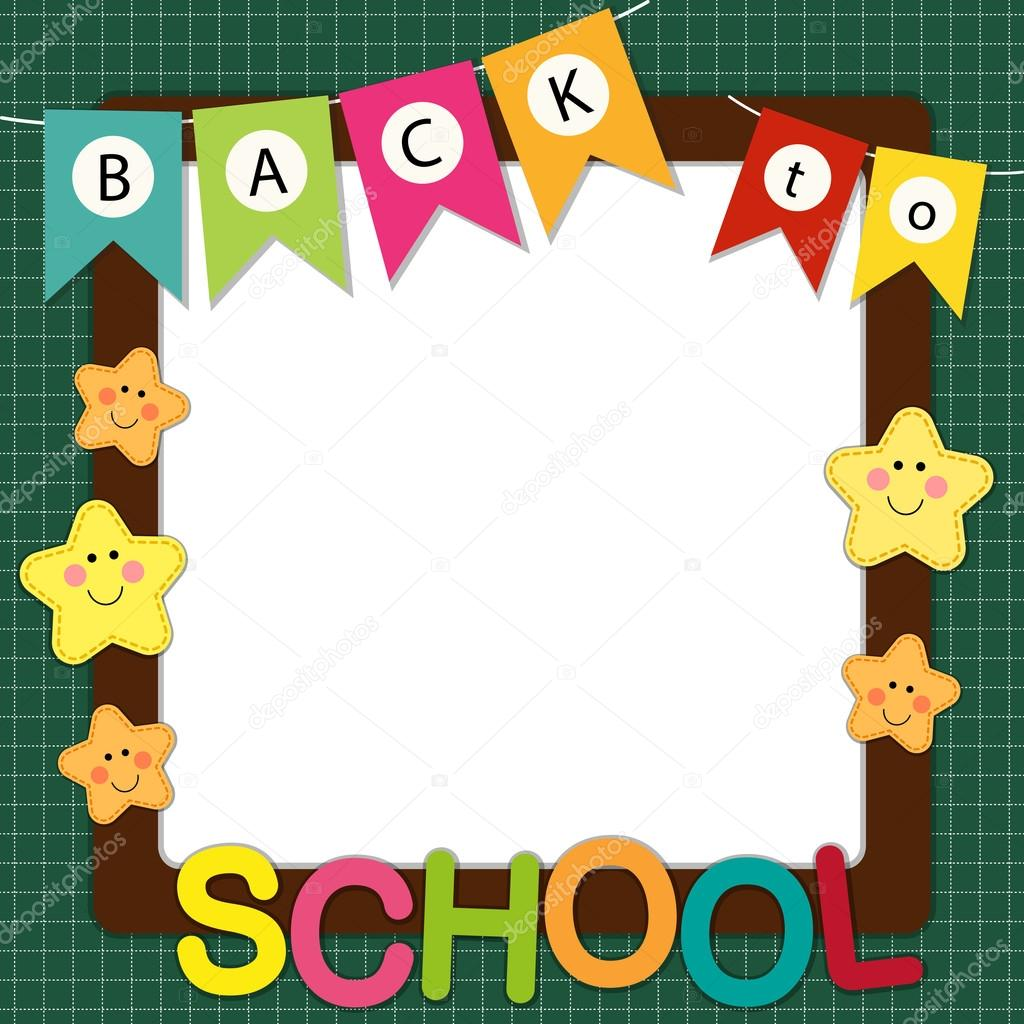 cute back to school frame with bunting multicolored letters and stars characters on school board background vector by ishkrabal
