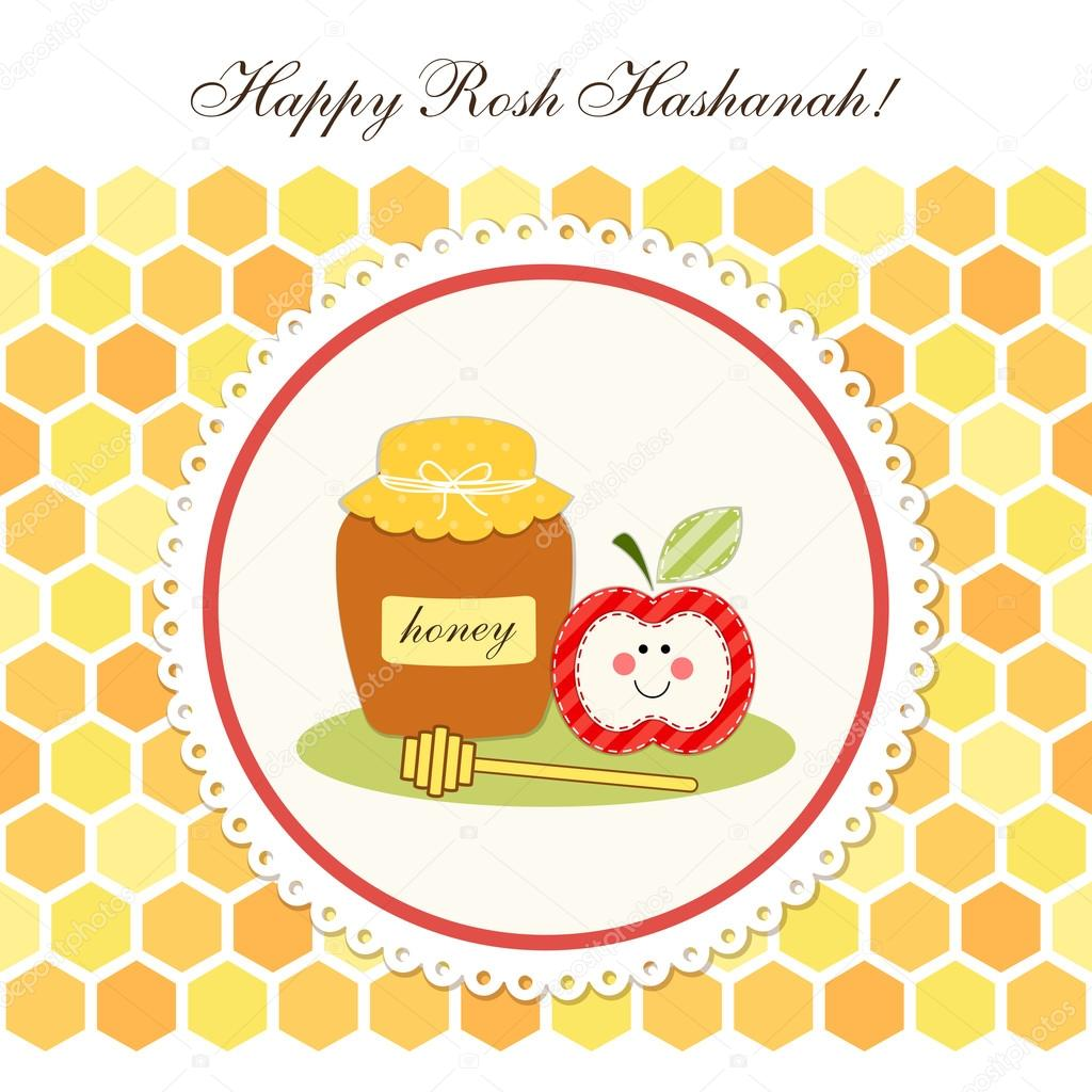 Happy rosh hashanah greeting card stock vector ishkrabal 81082442 cute greeting card happy rosh hashanah jewish new year with traditional honey jar stick and apple on honeycombs background vector by ishkrabal m4hsunfo
