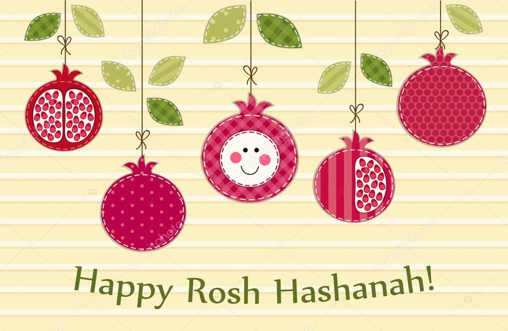 Happy rosh hashanah greeting card stock vector ishkrabal 81082458 cute bright pomegranates hanging on strings as rosh hashanah jewish new year symbols vector by ishkrabal m4hsunfo