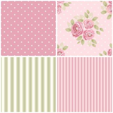 Set of seamless vintage patterns