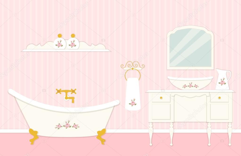 Cute Vintage Bathroom Interior With Typical Bath And Furniture Elements In Shabby Chic Style Vector By IShkrabal