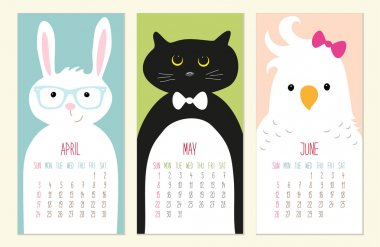 Cute 2016 calendar pages with funny animals