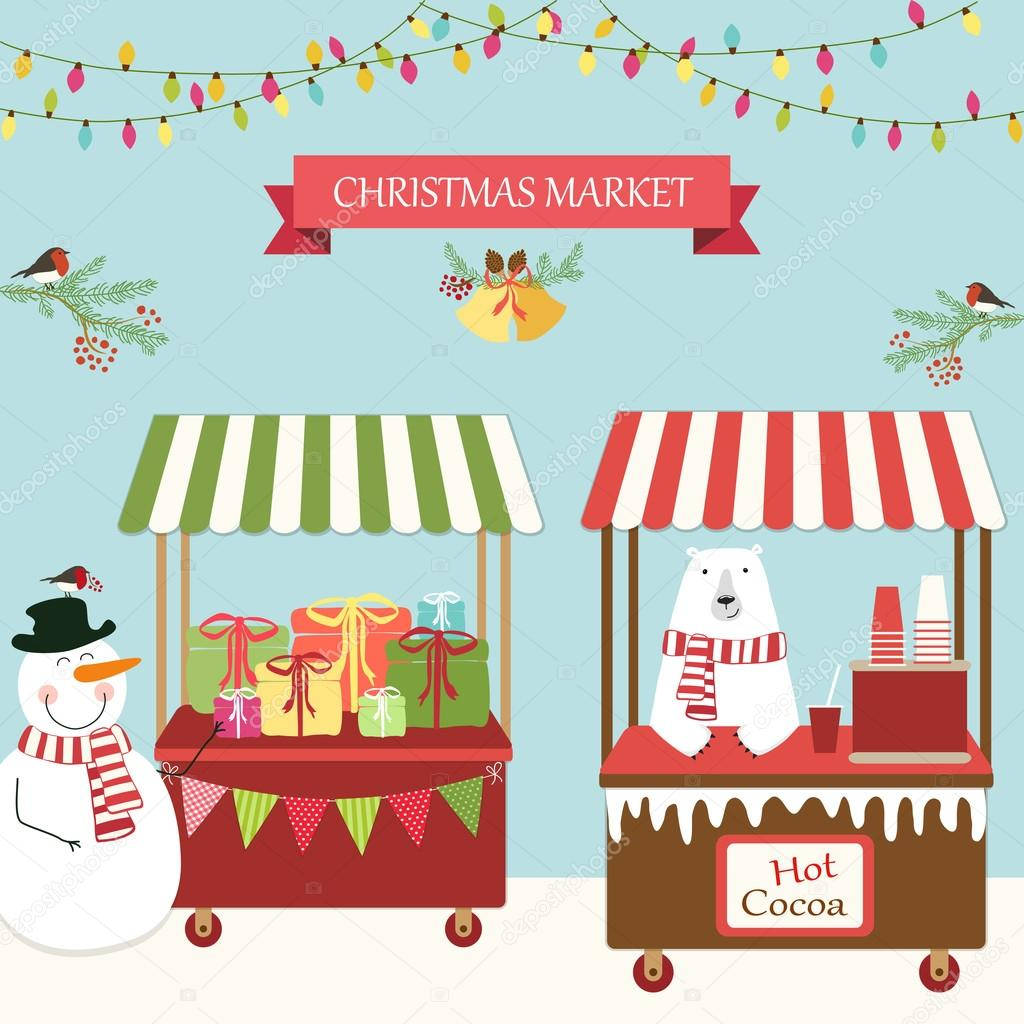 Image result for christmas market cartoon
