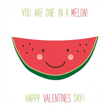 Valentines Day card with cartoon melon