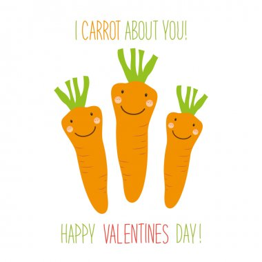 Valentines Day card with carrots