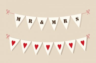 Cute rustic wedding bunting flags