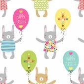 Fotografie Easter pattern with bunnies and party balloons