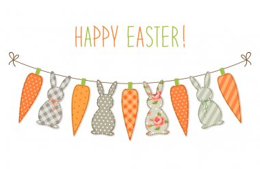 Easter bunting with bunnies and carrots