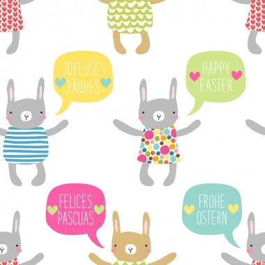 Easter pattern with bunnies and speech bubbles