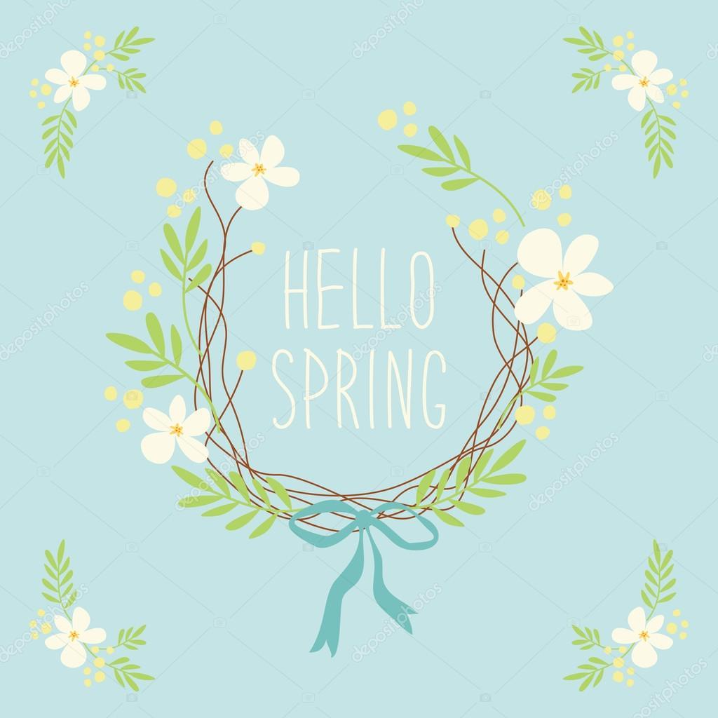 最初の春の花のかわいいリース ストックベクター Ishkrabal