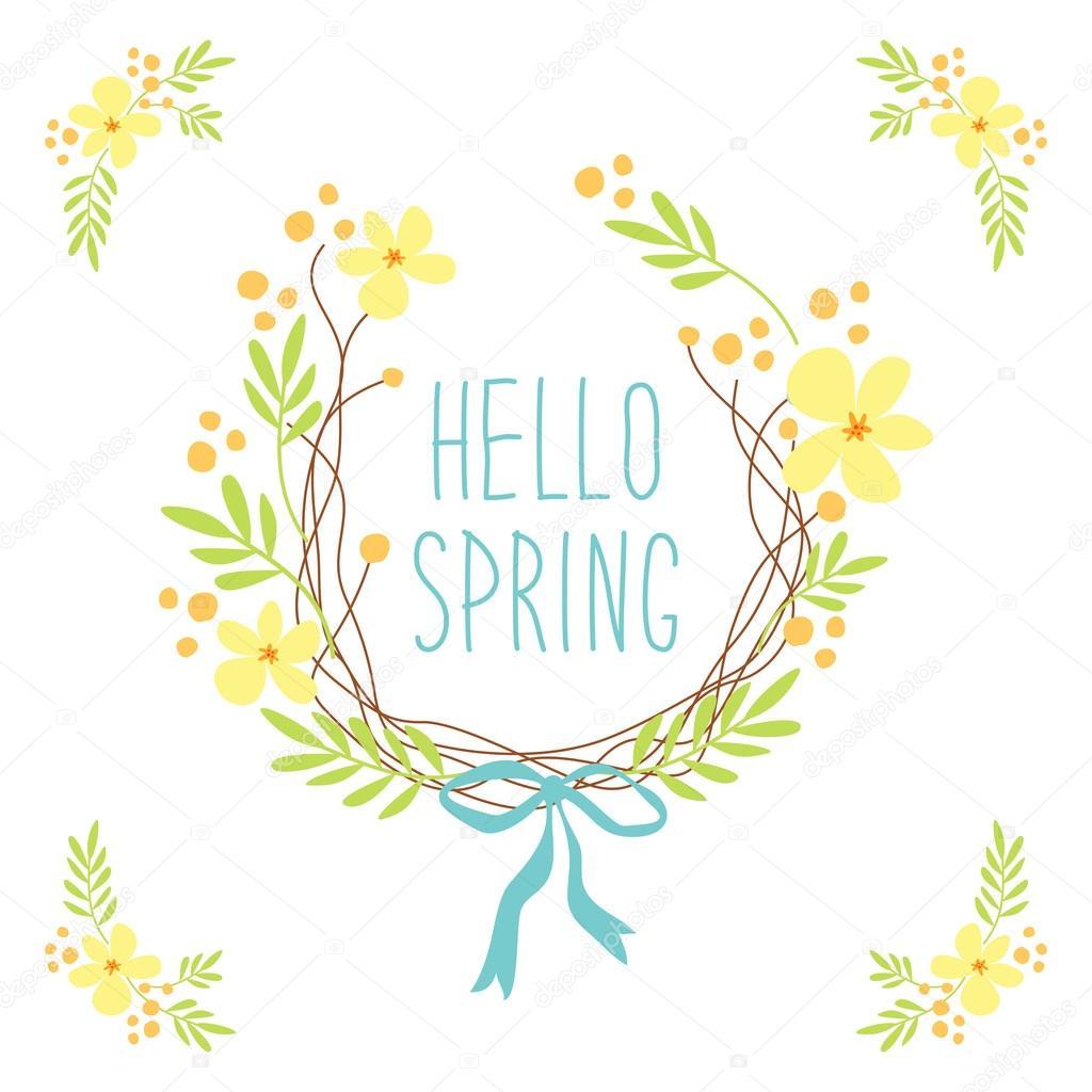最初の春の花のかわいいリース — ストックベクター © ishkrabal #98977160