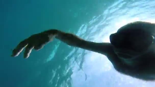 Uomo che gode della vista sottomarino vacanze estive